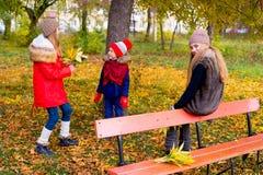 Группа в составе девушки в парке осени с листьями Стоковое Фото