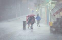 Группа в составе девушки идя на дождь лета в городе Стоковое Фото