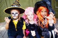 Группа в составе девушки хеллоуина Стоковое Фото
