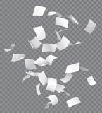 Группа в составе летание или падая белые бумаги на trans Стоковое Изображение