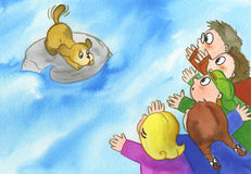Группа в составе дети выкрикивая на собаке Стоковая Фотография RF