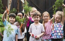 Группа в составе дети детского сада уча садовничать outdoors стоковая фотография