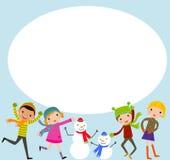 Группа в составе дети - зима Стоковая Фотография