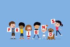 Группа в составе дети и собака держа письма говоря друзьям Милая разнообразная иллюстрация шаржа маленьких девочек и мальчиков бесплатная иллюстрация