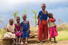 Группа в составе дети Maasai стоковое фото