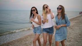 Группа в составе женские друзья имея потеху наслаждаясь напитком на пляже морем на заходе солнца в замедленном движении Молодые ж видеоматериал
