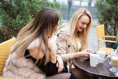 Группа в составе женские друзья на террасе caffee в смотреть осени червя Стоковая Фотография RF