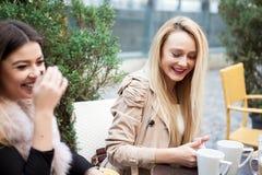 Группа в составе женские друзья на террасе caffee в смотреть осени червя Стоковые Фотографии RF