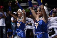 Группа в составе женщина в красочных костюмах кокоса участвовала в танцах улицы Стоковое фото RF