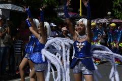 Группа в составе женщина в красочных костюмах кокоса участвовала в танцах улицы Стоковое Изображение RF