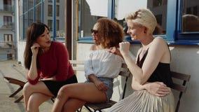 Группа в составе женщины встречая на кафе акции видеоматериалы