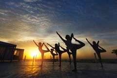 Группа в составе женщины делая йогу на восходе солнца около моря Стоковое Фото