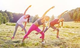 Группа в составе женщины делая йогу Стоковые Фотографии RF