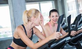 Группа в составе женщины обсуждая пока тренирующ на велосипеде Стоковое Фото