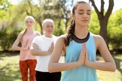 Группа в составе женщины практикуя йогу в парке Стоковые Фото