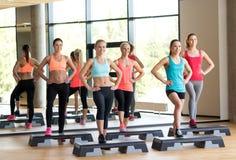 Группа в составе женщины разрабатывая с steppers в спортзале Стоковые Изображения RF