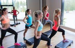 Группа в составе женщины разрабатывая с steppers в спортзале Стоковое Изображение RF
