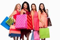 Группа в составе женщины с хозяйственными сумками Стоковая Фотография RF