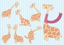 Группа в составе жираф шаржа с различными эмоциями Стоковое Фото