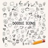Группа в составе значки, объекты doodle Стоковые Фото