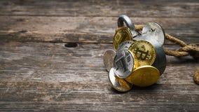 Группа в составе золотое и серебряное Bitcoin Ethereum Litecoin уловлена магнитом, концепцией дела, форматом знамени 16x9 с космо Стоковое Изображение RF