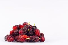 Группа в составе зрелые шелковицы на еде плодоовощ шелковицы белой предпосылки здоровой Стоковые Фотографии RF