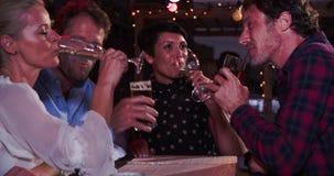 Группа в составе зрелые друзья ослабляя совместно на баре крыши сток-видео