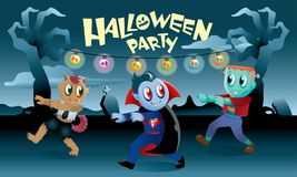 Группа в составе изверги играя совместно в ноче хеллоуина Стоковая Фотография RF