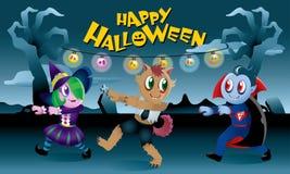 Группа в составе изверги играя совместно в ноче хеллоуина Стоковое фото RF
