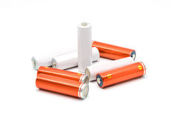 Группа в составе изолированные батареи размера AA Стоковое Изображение