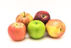 Группа в составе конца-вверх бабушка Смит, красно- очень вкусное, торжественный, яблоки Фудзи стоковые фото