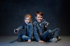 Группа в составе концепция студии детей Стоковое фото RF