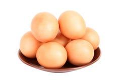 Группа в составе коричневые яичка курицы в плите Стоковое фото RF
