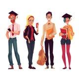 Группа в составе коллеж, студенты университета с книгами и телефоны иллюстрация штока