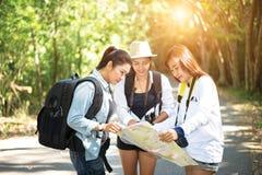Группа в составе красивые молодые женщины идя в лес, Стоковое Изображение