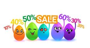 Группа в составе красочные пасхальные яйца шаржа держа знаки продажи на белой предпосылке бесплатная иллюстрация
