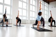 Группа в составе молодые люди делая exercices фитнеса стоковое изображение rf