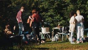 Группа в составе молодые люди имея пикник снаружи в природе на день лета ветреный видеоматериал