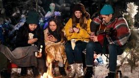 Группа в составе молодые люди в лесе зимы сидя огнем Люди сидя в их телефонах и усмехаться социально сток-видео