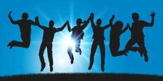 Группа в составе молодые люди скачет для утехи держа руки иллюстрация штока