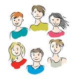 Группа в составе 6 молодые люди Стоковые Фотографии RF