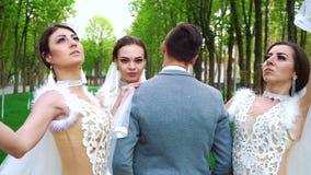 Группа в составе молодые люди в bridal одеждах стоит все еще представляющ для камеры сток-видео