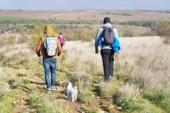 Группа в составе молодые друзья вне для прогулки в горе Ландшафт реки Стоковое Фото