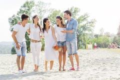 Группа в составе молодые люди держа руки на пляже Стоковые Фото