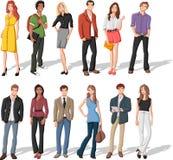 Молодые люди шаржа иллюстрация вектора