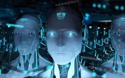 Группа в составе мужские роботы следовать переводом армии 3d киборга руководителя бесплатная иллюстрация