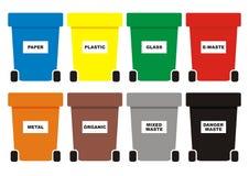 Группа в составе ненужные консервные банки, 8 контейнеров цвета для отхода, значка вектора стоковое изображение rf