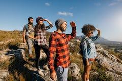 Группа в составе пешие друзья наслаждаясь взглядом от горного пика Стоковое фото RF