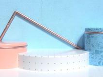 Группа в составе пола голубой стены белая мягкий пинк/оранжевая белая геометрическая сцена минимальное 3d конспекта формы предста бесплатная иллюстрация