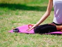 Группа в составе профессиональные yogis размышляет в парке города Стоковое фото RF